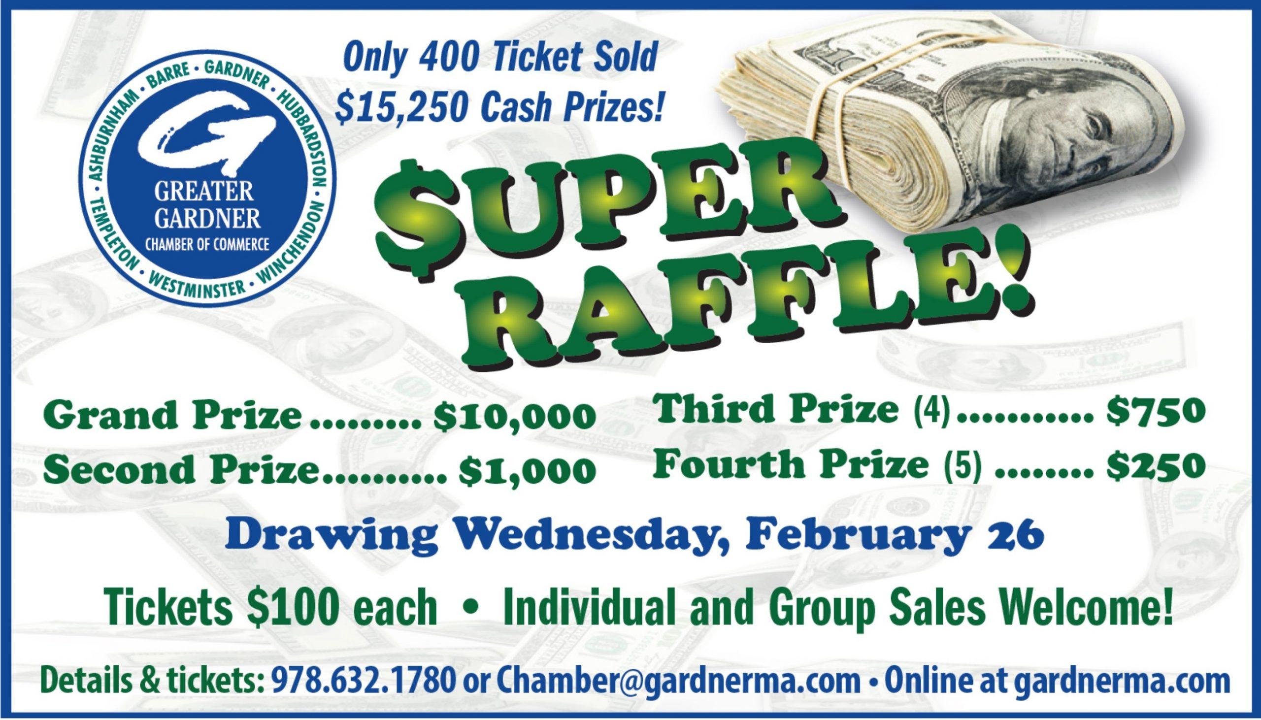 Greater Gardner Chamber of Commerce $10,000 Super Raffle 2020